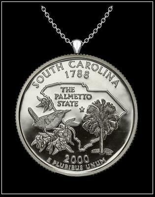 Best Mix Tone Large South Carolina State Shape Palmetto Moon Slide Pendant for Necklace or Choker