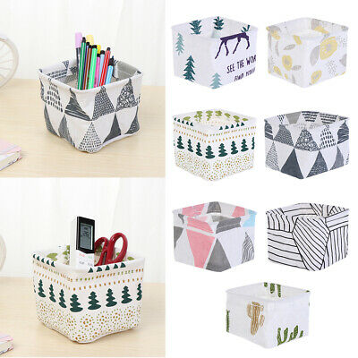 Stationery Organizer Foldable Makeup Box Fabric Bin Pen Basket Desktop Storage