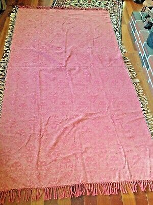 Antique fringed old red shawl with 3 inches fringe (paisley?) 52 x 86 inches