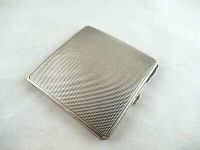 Solid Silver SMALL ENGINE TURNED POWDER COMPACT  Hallmarked:-Birmingham 1942