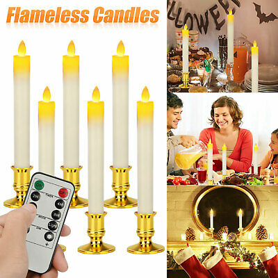 6X Battery Operated LED Flameless Flickering Taper Wax Candles Timer With Remote