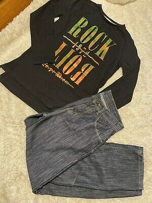 BOYS Bundle age 10-11 Rock Roll Top & Jeans Outfit 11 Years Washed But Not Worn