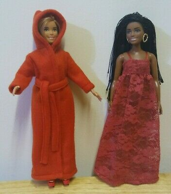 """11 1//2/"""" Curvy Barbie Doll Clothing Red Robe Red Lace Nightgown"""