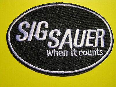 SIG SAUER FIREARMS VEST PATCH 2 X 4 INCH SEW ON GUN PATCH 100/% EMBROIDERY WHITE