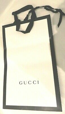 GUCCI paper carrier gift bag. White front with black edges and sides 38x23x14 cm