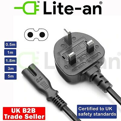 Black 1.8 Meter Long 1.8M IEC C7 Figure of 8 Eight Mains Power Cable Lead