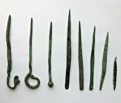 Medieval bronze pins 3 pieces,bronze punctures 5 pieces