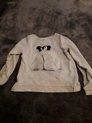 Girls  Grey Penguin Sweatshirt Age 8-10 Years