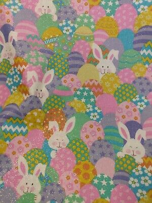 Chocolate Easter Bunny Fabric Eggs Very Cute Rare By The Fat Quarter BTFQ New