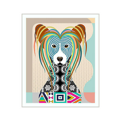 Chinese Crested Dog Art Print  Painting Animal Lover Pet Gift Wall Decoration
