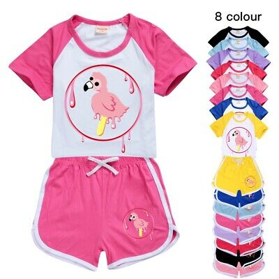 Kids Flamingo Flim Flam Outfits Costume T-shirt Pants PJ'S Loungewear Tracksuit