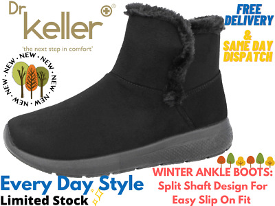 New Ladies Dr Keller Grey Black Fur Lined Warm Winter Ankle Boots Size 4 5 6 7 8