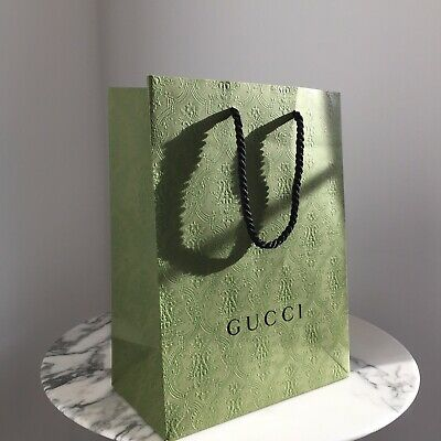 GUCCI Green Holiday Christmas Shopping Gift Paper Bag Tote Limited MEDIUM New