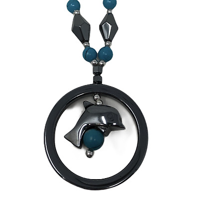 """Hematite and Blue Bead Necklace Dolphin Porpoise Pendant 18"""""""