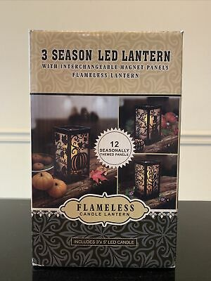 Indoor/Outdoor Flameless LED Lantern Flicker Timer Candle- 3 Season New In Box