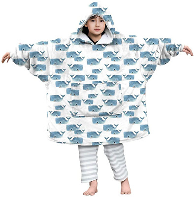 Lovekider Blanket Sweatshirt Boys Whale Front Pocket Ultra Soft Roomy Bathrobe