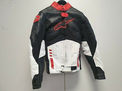 S300 Kids Alpinestars Black White Red Armoured Leather Biker Jacket S 8-9 Years