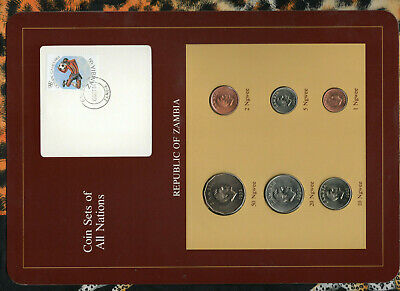 Coin Sets of All Nations Zambia w/card 1972-1983 UNC 20,50 Ngwee 1972