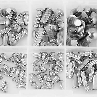 160pcs M2-M5 Stainless Steel Round Head Knurled Shank Rivets Set NCZ