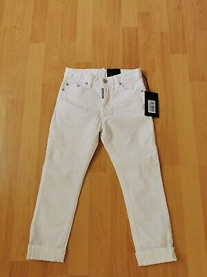 Boys Dsquared2 White Glam Head Jeans trousers 7/8years Bnwt