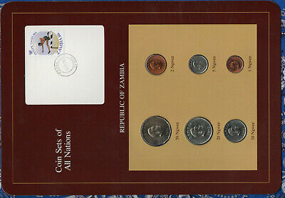 Coin Sets of All Nations Zambia 1972-1983 UNC 5,20,50 Ngwee 1972