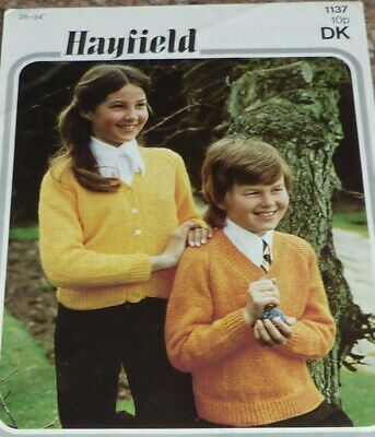 """Knitting Pattern for Girls Boys DK Cardigan ou pull Hayfield Taille 18//24/"""""""