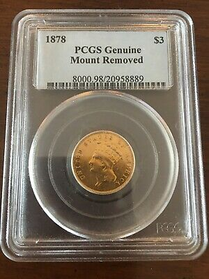 1878 Three Dollar Gold Coin PCGS Genuine