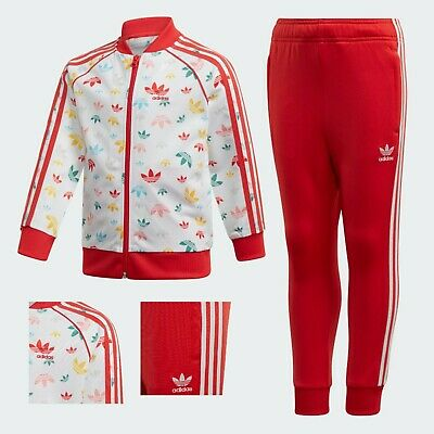 Adidas Originals Sst Tracksuit Kids Unisex Boys Girls White Red Fm4944 3-7 Years