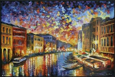 """Venice, Italy - Framed Art Poster (The Grand Canal - Leonid Afremov) (36"""" x 24"""")"""