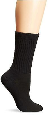 PEDS Women's Diabetic Crew Socks with Coolmax and Non-Binding, Black, Size 7.0 j