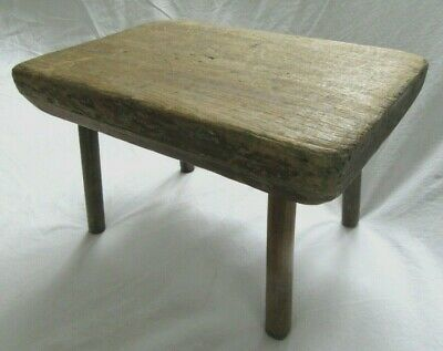 Antique Foot Milking Stool Country Primitive Wood Worn Red Paint Cricket 1880