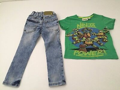 BOYS CLOTHING bundle - 2 to 3 years - TURTLES t shirt and NEXT jeans / denims
