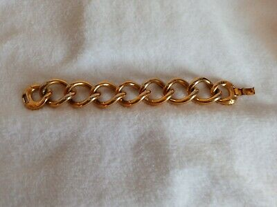 Vintage Signed Star Silver Tone Chunky Mid Century Chain Bracelet L35