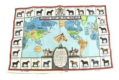 Vintage Ulster Horse Breeds Map of the World Tapestry Irish Linen Tea Towel