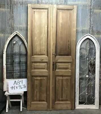 Tall Pair Antique French Double Doors, Raised Panel Doors, European Doors A84
