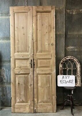 Tall Pair Antique French Double Doors, Raised Panel Doors, European Doors A87