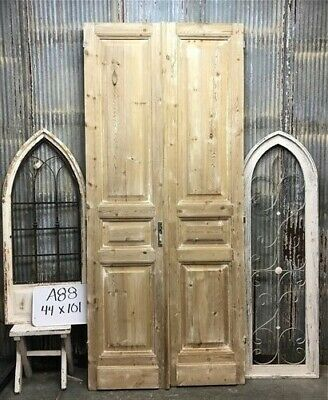 Tall Pair Antique French Double Doors, Raised Panel Doors, European Doors A88