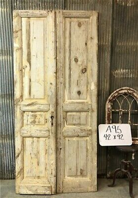 Tall Pair Antique French Double Doors, Raised Panel Doors, European Doors A95