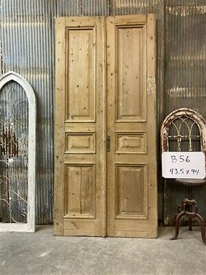 Thick Molding, Antique French Double Doors, European Doors, Tall Pair B56