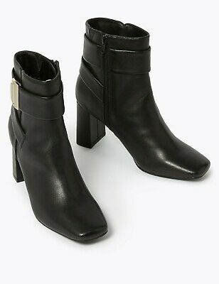 Marks /& Spencer M/&S Collection T025918 Block Heel Side Zip Ankle Boots RRP £45