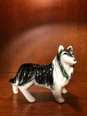 VINTAGE CERAMIC COLLIE BREED DOG STATUE MADE in JAPAN figurine