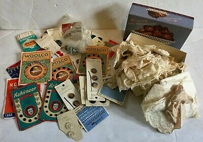 Antique Lace Lot & Early Fasteners Buttons & MORE