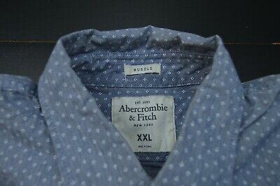 Abercrombie And Fitch Muscle Classic Slim Fit Denim Designer Ls Shirt Size: Xxl
