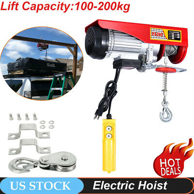 440lbs Electric Wire Cable Hoist Overhead Crane Lift with Remote Control 480W