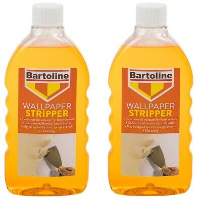 2 x Bartoline Wallpaper Stripper Fast acting Formula & Easy To Use 500ml