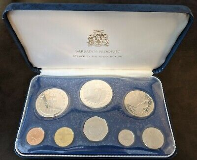 Barbados 1974 8-Coin Proof Set With Original Box And Coa Minted At Franklin Mint