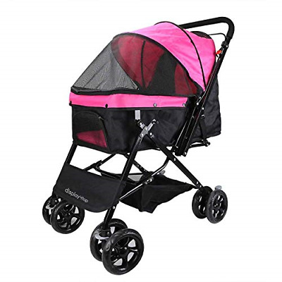 Display4top Pink Pet Travel Stroller, Foldable Four-Wheeled Trolley Suspension