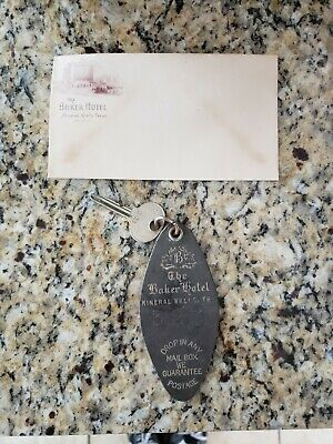 Baker Hotel Mineral Wells TX Room Key and Fob for Room 323 + A Hotel Envelope