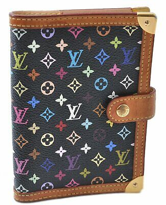 Auth Louis Vuitton Monogram Multicolor Agenda PM Black Day Planner Cover B8498