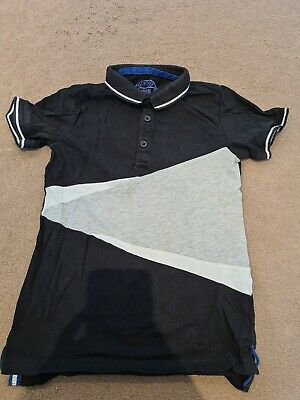 Boys Black And Grey Polo Shirt Age 7 Years Matalan